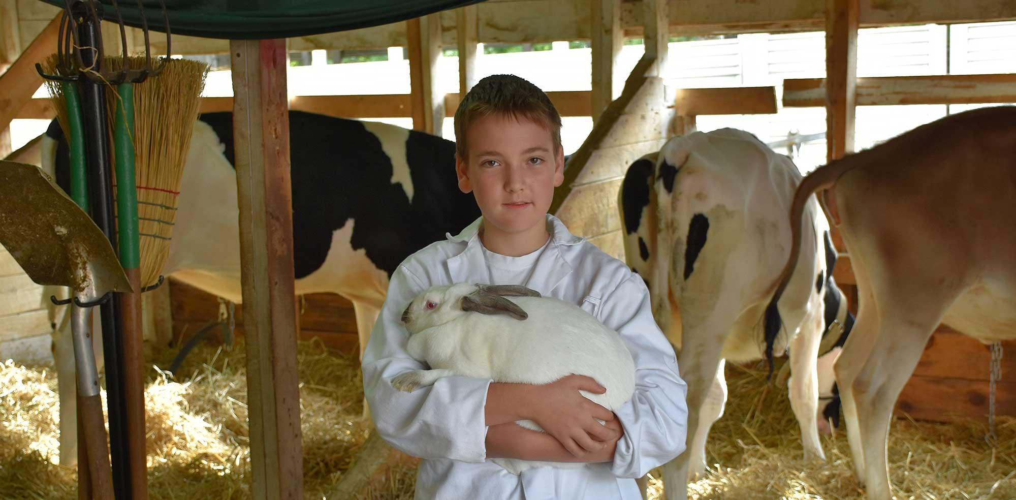 A boy holding a rabbit
